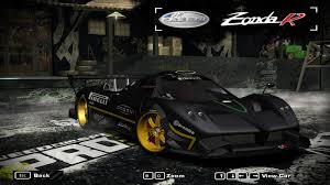 pagani back need for speed most wanted pagani zonda r nur nfscars