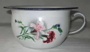pot de chambre de la pot de chambre ancien vase de nuit ancien en tôle émaillée à décor