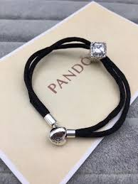 pandora silver leather bracelet images New black pandora leather bracelet 16 22cm available JPG