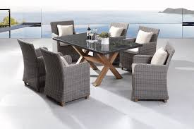 Blue Stone  Pc Granite Stone Top Outdoor Dining Set With - Dining table with rattan chairs