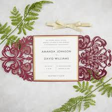 wedding invitations burgundy burgundy and gold laser cut wedding invitations swws018