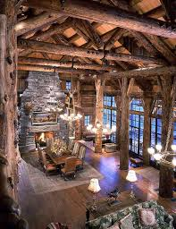 massive greatroom with a high soaring ceiling in this montana log