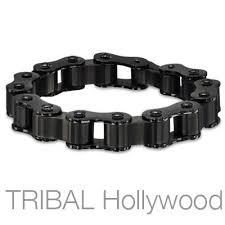 black stainless steel chain bracelet images Black metal mens bracelets tribal hollywood jpg