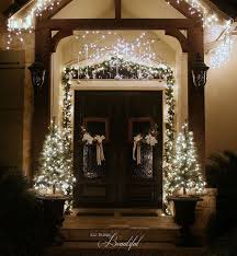 Outdoor Garland With Lights by Christmas Porch And Front Door Garland Diy Hometalk