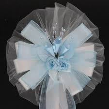 Pew Decorations For Wedding Light Blue Lilies And Rose Floral Wedding Pew Bows Church Aisle