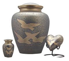 urn ashes brass urn cremation ashes turquoise flying doves