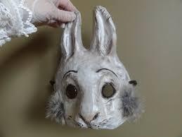 paper mache bunny paper animal masks paper mache rabbit mask hare by miesmesaberni