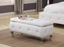 Storage Ottoman Upholstered Brand Furniture White Vinyl Tufted Design