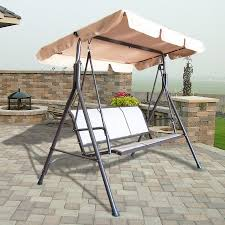 Swinging Patio Chair Outdoor 3 Person Canopy Swing Glider Hammock Patio Furniture