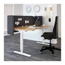Oak Reception Desk Bekant Reception Desk Sit Stand Oak Veneer White 160x80 55 Cm Ikea