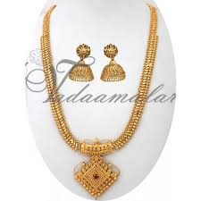 long necklace designs images Long necklace pendant and earring india design gold plated jpg