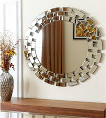 Living Room Wall Mirrors Ideas - crested silver wooden wall mirror for living room klpj