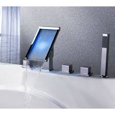 Bathroom Tub Faucets Deck Mounted Waterfall Led Roman Tub Faucets