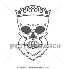 clip of bearded skull with crown design element dead king