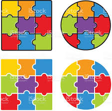 jigsaw puzzle blank simple template 3 x 3 nine pieces vector