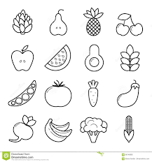 vegan icon set outline vegetables and fruits isolated on white