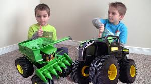 toy monster trucks videos john deere monster truck tractor rumble toys in action youtube
