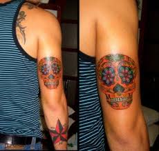sugar skull and nautical on arm in 2017