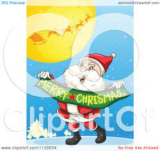 cartoon santa carrying merry christmas banner