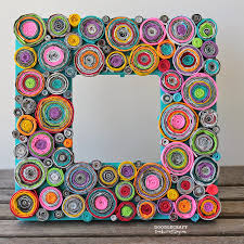 doodle craft upcycled rolled paper frame reuse and recycle