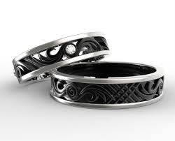 black wedding rings his and hers his and hers diamond wedding band set custom ring order for jax
