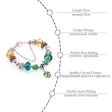 pandora style bracelet diy images Brazil flag charm bracelet for women pandora style jpg