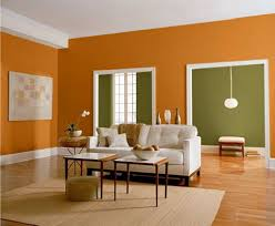 nice green and orange living room in small home remodel ideas with