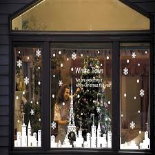 Christmas Window Decorations Stickers by Aliexpress Com Buy Christmas Snowflake City Tower Night Stores