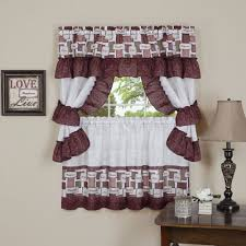 printed kitchen curtain valance u0026 tiers set spice 57x36