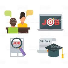 bureau concept icône de recherche emploi vector définie gestionnaire de réunion