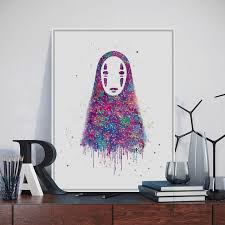 Aliexpresscom  Buy Original Watercolor No Face Japanese Hayao - Canvas paintings for kids rooms