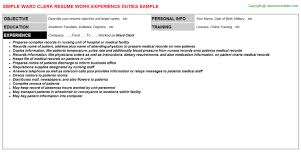 Sample Clerical Resume by Ward Clerk Cover Letter