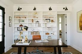 Bookcases For Office Built In Bookcase With Swing Arm Sconces Cottage Den Library