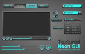 Two Dark Ui - dark textured neon web ui elements kit psd welovesolo