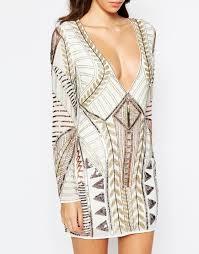 embellished dress la perla plunge neck sleeve embellished dress in metallic lyst