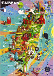 Map Of Taiwan Cute Square Magnet Taiwan Ocean And Tourist Map