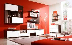 Trendy Living Room Color Schemes by Interior Chic Red And White Kitchen Interior With Long Cabinets