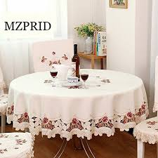 round table cloth covers mzpride europen rustic floral embroidered tablecloth round table