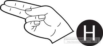 american sign language clipart sign language letter h outline
