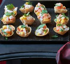 canapes with prawns corn cups with prawns mango chillies recipe food