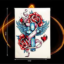 1pc temporary roses wings cross designs