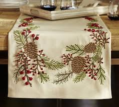 pinecone berry embroidered table runner pottery barn