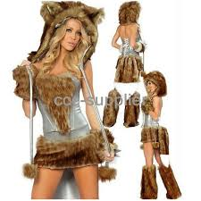 Wolf Halloween Costume Girls Women Wolf Costumes Wild Furry Big Tail Cosplay Halloween