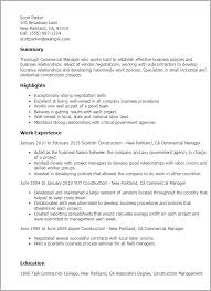 Example Of Project Manager Resume by Professional Commercial Manager Templates To Showcase Your Talent