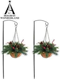 christmas hanging baskets with lights 2 pack 13 quot led lighted aberdeen christmas hanging basket set
