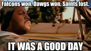 Saints Falcons Memes - falcons won dawgs won saints lost it was a good day it was a