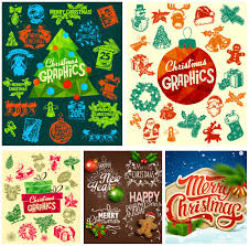 retro christmas labels and elements vector vector graphics blog