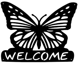 plazcutz welcome sign butterfly dxf