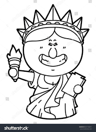 funny statue liberty vector illustration coloring stock vector