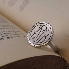 Monogram Rings Silver Four Letter Monogram Ring Silver Monogram Ring Custom